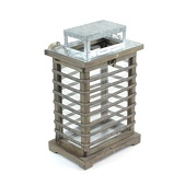 DecoStar™ Wooden Lantern with Glass Sides - Small