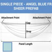 Single Piece -Angel Blue FR Sheer Prefabricated Ceiling Drape Panel - Choose Length and Drop!