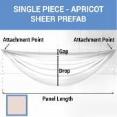 Single Piece - Apricot Cream Sheer Prefabricated Ceiling Drape Panel - Choose Length and Drop!