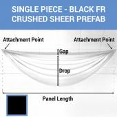 Single Piece - Black Crushed Sheer Prefabricated Ceiling Drape Panel - Choose Length and Drop!