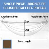 Single Piece - Bronze Crushed Taffeta Prefabricated Ceiling Drape Panel - Choose Length and Drop!
