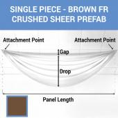 Single Piece - Brown Crushed Sheer Prefabricated Ceiling Drape Panel - Choose Length and Drop!