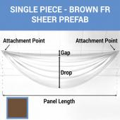 Single Piece -Brown FR Sheer Prefabricated Ceiling Drape Panel - Choose Length and Drop!