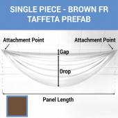 Single Piece - Brown Taffeta Prefabricated Ceiling Drape Panel - Choose Length and Drop!