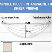 Single Piece -Champagne FR Sheer Prefabricated Ceiling Drape Panel - Choose Length and Drop!