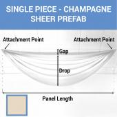 Single Piece - Champagne Sheer Prefabricated Ceiling Drape Panel - Choose Length and Drop!