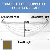 Single Piece - Copper Taffeta Prefabricated Ceiling Drape Panel - Choose Length and Drop!