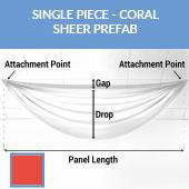 Single Piece -Coral Sheer Prefabricated Ceiling Drape Panel - Choose Length and Drop!