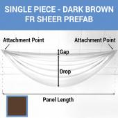 Single Piece -Dark Brown FR Sheer Prefabricated Ceiling Drape Panel - Choose Length and Drop!