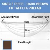Single Piece - Dark Brown Taffeta Prefabricated Ceiling Drape Panel - Choose Length and Drop!