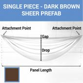 Single Piece - Chocolate Brown Sheer Prefabricated Ceiling Drape Panel - Choose Length and Drop!