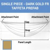Single Piece - Dark Gold Taffeta Prefabricated Ceiling Drape Panel - Choose Length and Drop!