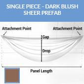 Single Piece -Dark Blush FR Sheer Prefabricated Ceiling Drape Panel - Choose Length and Drop!