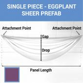 Single Piece - Eggplant Sheer Prefabricated Ceiling Drape Panel - Choose Length and Drop!