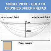 Single Piece - Gold Crushed Sheer Prefabricated Ceiling Drape Panel - Choose Length and Drop!