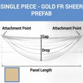 Single Piece -Gold FR Sheer Prefabricated Ceiling Drape Panel - Choose Length and Drop!