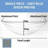 Single Piece -Grey Blue FR Sheer Prefabricated Ceiling Drape Panel - Choose Length and Drop!