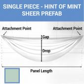 Single Piece - Hint of Mint Sheer Prefabricated Ceiling Drape Panel - Choose Length and Drop!