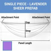 Single Piece - Lavender Sheer Prefabricated Ceiling Drape Panel - Choose Length and Drop!