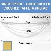 Single Piece - Light Gold Crushed Taffeta Prefabricated Ceiling Drape Panel - Choose Length and Drop!