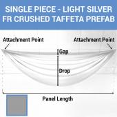 Single Piece - Light Silver Crushed Taffeta Prefabricated Ceiling Drape Panel - Choose Length and Drop!