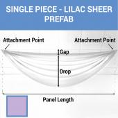 Single Piece - Lilac Sheer Prefabricated Ceiling Drape Panel - Choose Length and Drop!