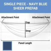 Single Piece - Navy Blue Sheer Prefabricated Ceiling Drape Panel - Choose Length and Drop!