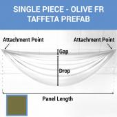 Single Piece - Olive Taffeta Prefabricated Ceiling Drape Panel - Choose Length and Drop!