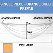 Single Piece - Orange Sheer Prefabricated Ceiling Drape Panel - Choose Length and Drop!