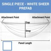 Single Piece -White Sheer Prefabricated Ceiling Drape Panel - Choose Length and Drop!