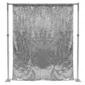 "Silver Sequin Backdrop Curtain w/ 4"" Rod Pocket by Eastern Mills - 8ft Long x 6ft Wide"