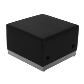 Titan Series Black Leather Ottoman With Brushed Stainless Steel Base