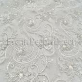 White - Blossoming Lace Overlay - Many Size Options