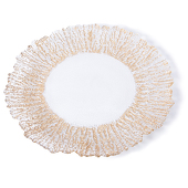 "DecoStar™ Gold Rimmed Sponge Glass Round Charger Plate 12.6"" - 4 Pack"