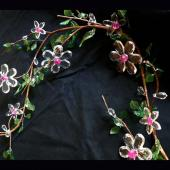 DecoStar™ Acrylic Flower Garland - Crystal Flowers w/ Pink Beads