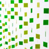 DecoStar™ 6ft Green and Lime Retro Square Non-Iridescent Curtain