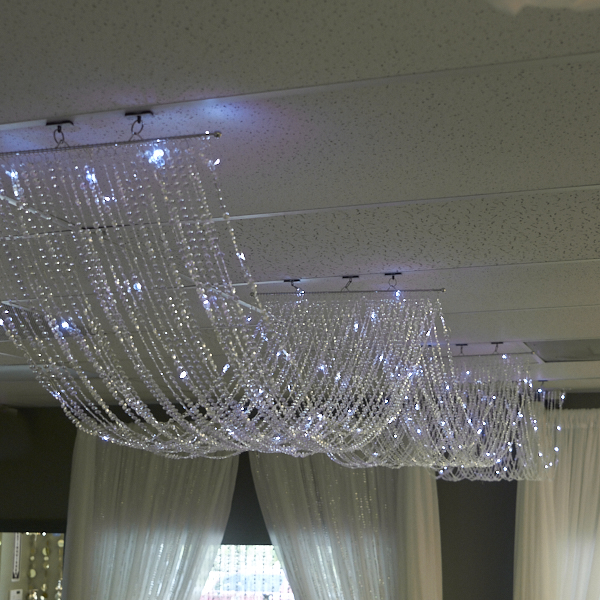 15ft Crystal Ceiling Draping Panel W Led Lights Pure White 3ft Wide