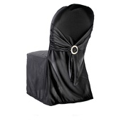 Premium Scuba (Polyester Flex) Banquet & Wedding Chair Cover By Eastern Mills in Black Color