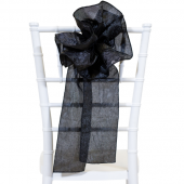 "DecoStar™ 9"" Crushed Taffeta Flower Chair Accent - Black"