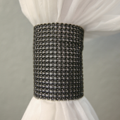 DecoStar™ Black Rhinestone Mesh Velcro Band / Curtain Tie
