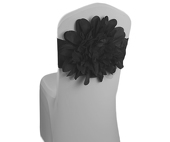 DecoStar™ Black Flower Chair Band - Choose your Size!