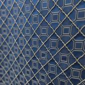 "Garnet Grid Accent Panel - Blue - 54"" Wide"