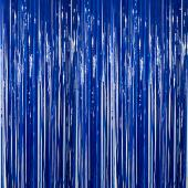 Dark Blue - Plastic Wet Look Fringe Curtain - Many Size Options