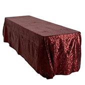 "Rectangle 90"" X 156"" Sequin Tablecloth by Eastern Mills - Premium  Quality - Burgundy"
