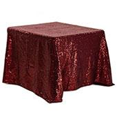 "Square 90"" x 90"" Sequin Tablecloth by Eastern Mills - Premium Quality - Burgundy"