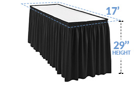 "17ft Pleated Table Skirt for 29 in. High Tables (17' x 29"")"