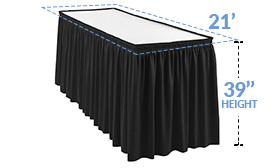 "21ft Pleated Table Skirt for 39 in. High Tables (21' x 39"")"