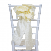 "DecoStar™ 9"" Crushed Taffeta Flower Chair Accent - Cream"