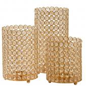 DecoStar™ Crystal Candle Cylinder / Pillar in Soft Gold - 3 Piece Set ( Small, Medium, Large )