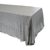 Silver Square Sequin Tablecloth by Eastern Mills - Premium Quality - Choose your Size!